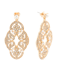 Pearl Drop Statement Earrings In Gold Tone