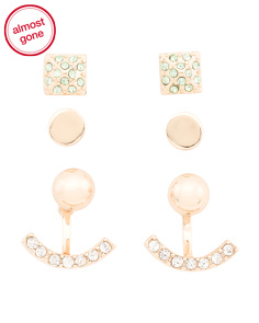 Set Of 3 Gold Tone Crystal Earrings