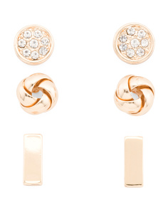 Set Of 3 Stud Earrings In Gold Tone