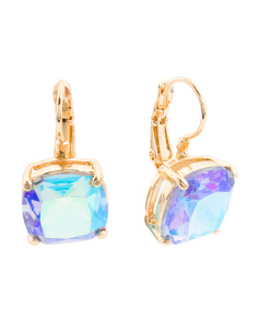 Square Crystal Drop Earrings In Gold Tone
