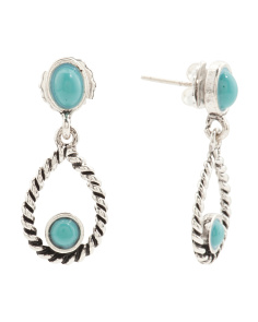 Turquoise Silver Tone Braided Drop Earrings In Silver Tone