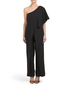 Petite Made In USA One Shoulder Ruffle Jumpsuit