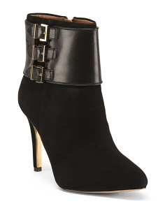 Leather Three Buckle Booties