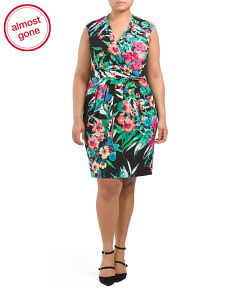 Plus Floral Faux Wrap Dress