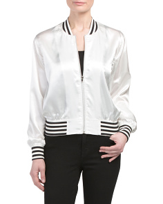 Juniors Zipper Front Bomber Jacket