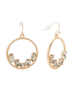 Crystal Embellished Frontal Hoop Earrings In Gold Tone