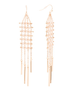 Crystal Embellished Linear Chain Dangle Earrings