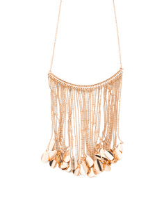 Crystal Embellished Linear Chain Dangle Necklace