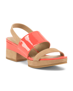 Patent Leather Block Heel Sandals