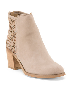 Made In Italy Chunky Heel Suede Booties