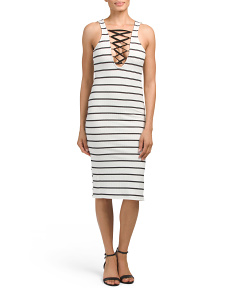 Juniors Lace Up Back Midi Dress