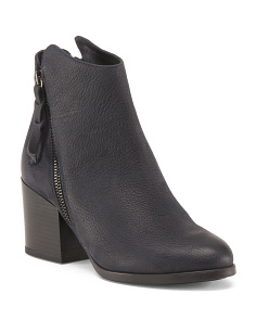 Made In Italy Chunky Heel Leather Booties