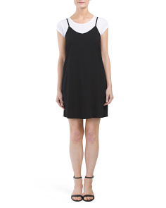 Juniors Cap Sleeve Twofer Dress