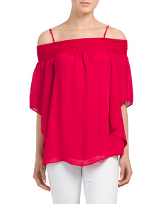 Smocked Flare Sleeve Blouse
