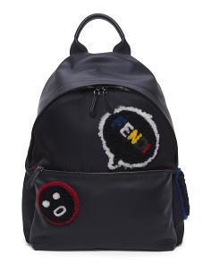 Made In Italy Shearling Emoticon Backpack