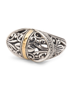 Made In Bali Sterling Silver And 18k Gold Oval East West Ring