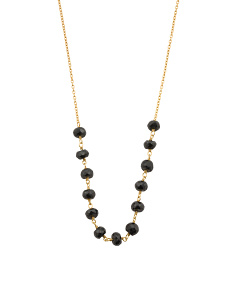 Made In India Gold Plated Black Spinel Rondelle Necklace