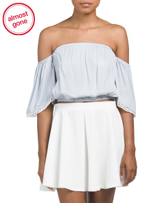 Juniors Off The Shoulder Lace Trim Top