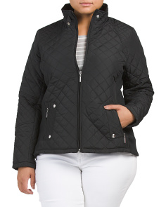 Plus Quilted Stretch Sides Moto Jacket