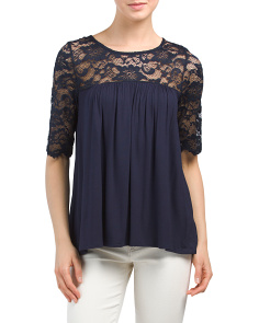 Made In USA Lace Illusion Yoke Top