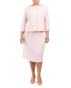 Plus Skirt Suit With Collar Detail