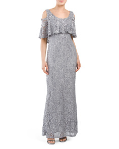 Cold Shoulder Ruffled Lace Gown