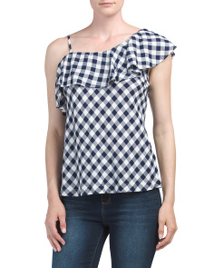 Juniors Gingham Ruffle Top