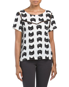 Juniors Short Sleeve Cat Top