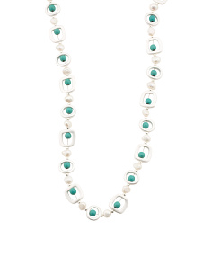 Geometric Fresh Water Pearl And Turquoise Necklace