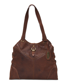 Leather Trapezoid Tote