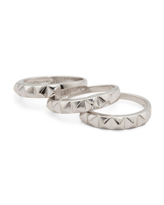 Set Of 3 Sterling Silver Studded Rings