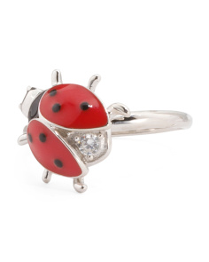 Sterling Silver Enamel And Cubic Zirconia Lady Bug Ring