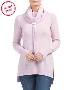 Cashmere Drawstring Funnel Neck Sweater