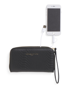 RFID Zip Wallet With Removable Charger