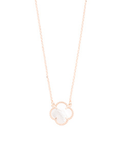 Made In Italy Sterling Silver Quatrefoil Shell Necklace