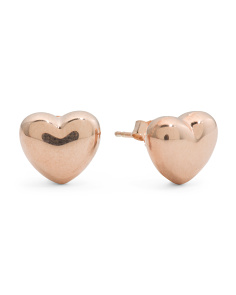 Made In Italy Rose Gold Plated Sterling Silver Heart Stud Earrings