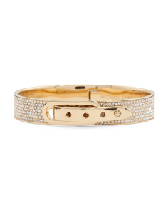 Pave Crystal Buckle Closure Bracelet In Gold