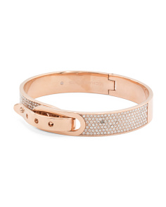 Pave Crystal Buckle Closure Bracelet In Rose Gold