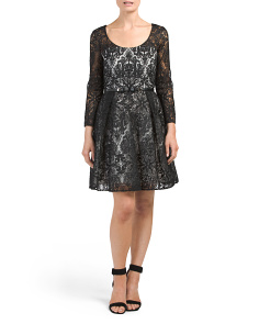 Lace Cocktail Dress With Sheer Sleeves