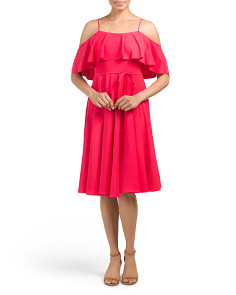 Jackie Ruffle Cold Shoulder Dress