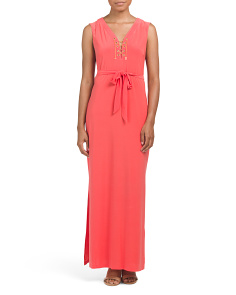Lace Up Tie Waist Maxi Dress