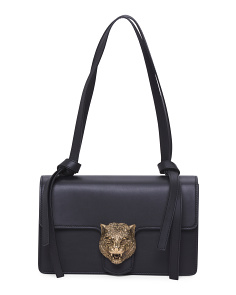 Made In Italy Animalier Moon Leather Shoulder Bag