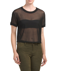 Juniors Cropped Sheer Mesh Tee
