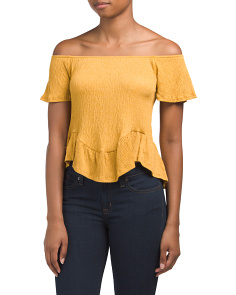 Juniors Off The Shoulder Peplum Tee