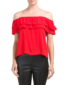 Juniors Off The Shoulder Ruffle Top