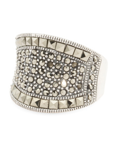 Sterling Silver Marcasite Concave Dome Ring