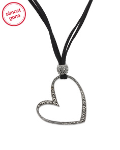 Sterling Silver Marcasite Open Heart Cord Necklace