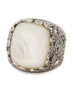Sterling Silver Mother Of Pearl And Marcasite Statement Ring