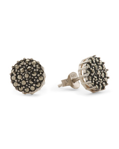 Sterling Silver Pave Marcasite Ball Post Earrings