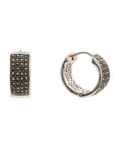Sterling Silver Pave Marcasite Huggie Hoop Earrings